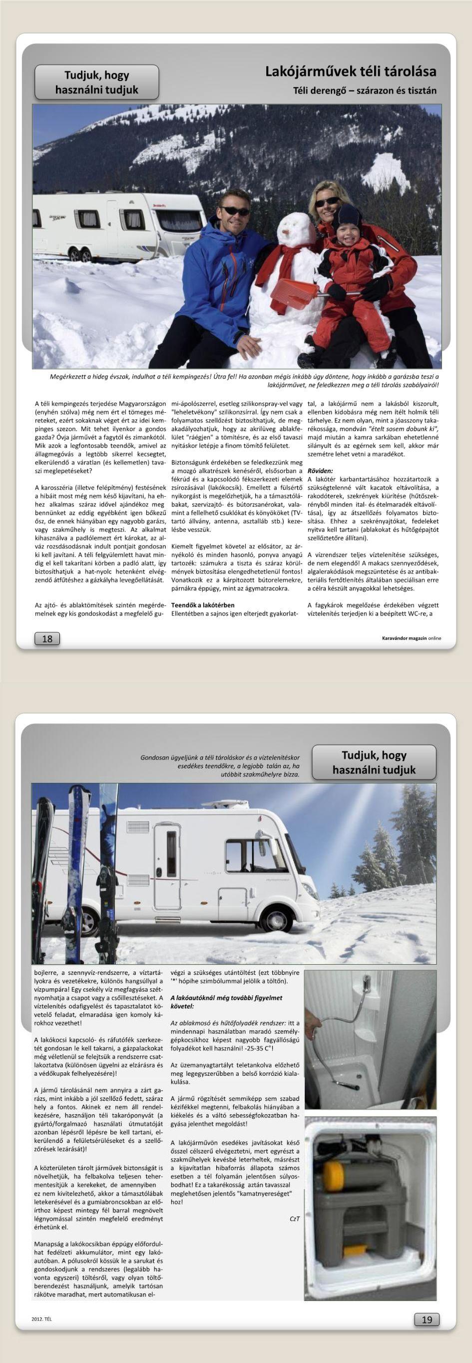 Tudjuk, hogy használni tudjuk - Lakójárművek téli tárolása