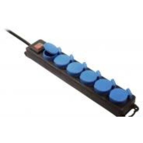 (M9975179) 6-os elosztó gumi fedőkkel és világító kapcsolóval (IP44), 1,5 m vezetékkel