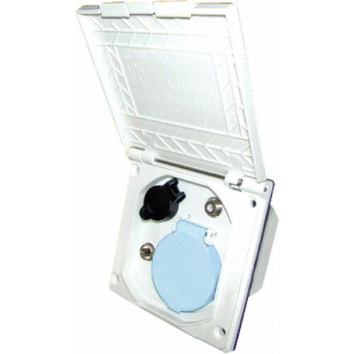 (M9975415) Többfunkciós külső csatlakozó fehér színben. (230 V/12 V/TV/TV-műhold)