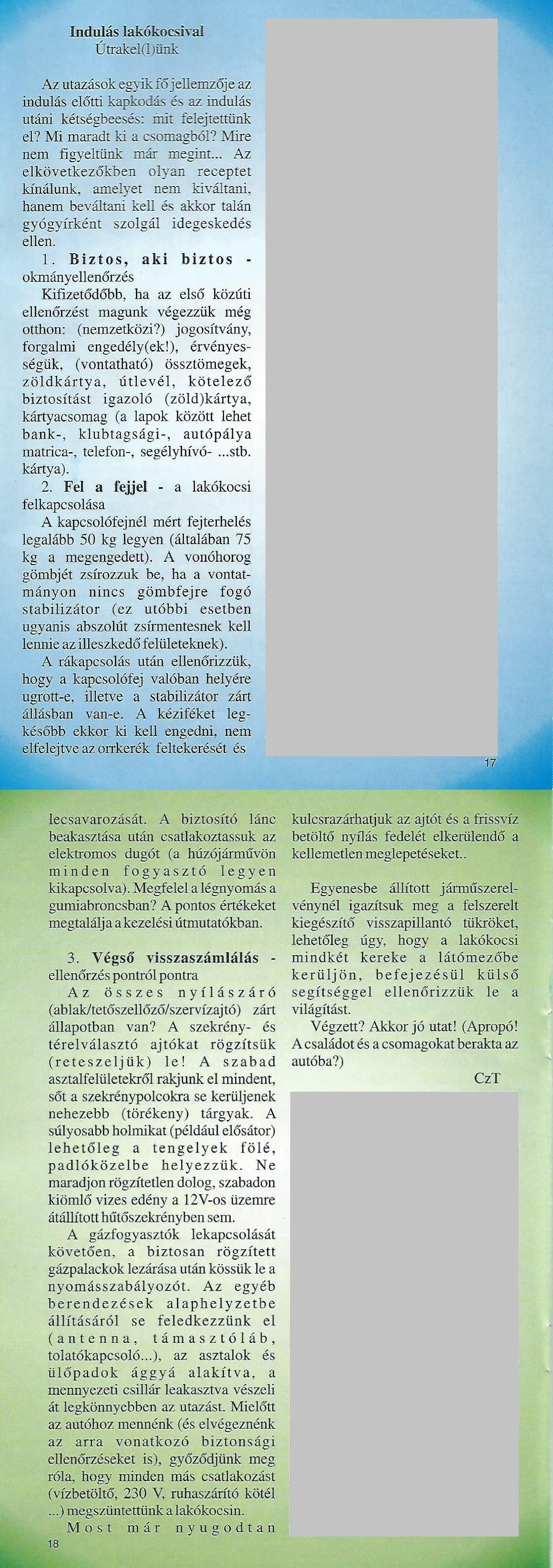 Karavándor magazin 2000 1. szám - Indulás lakókocsival
