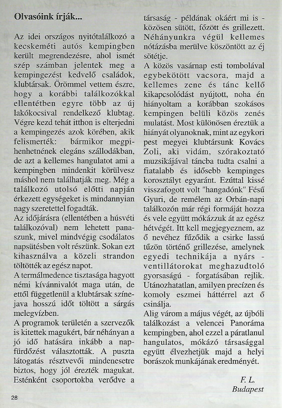 Karavándor magazin 2001. Nyár, Olvasóink írják