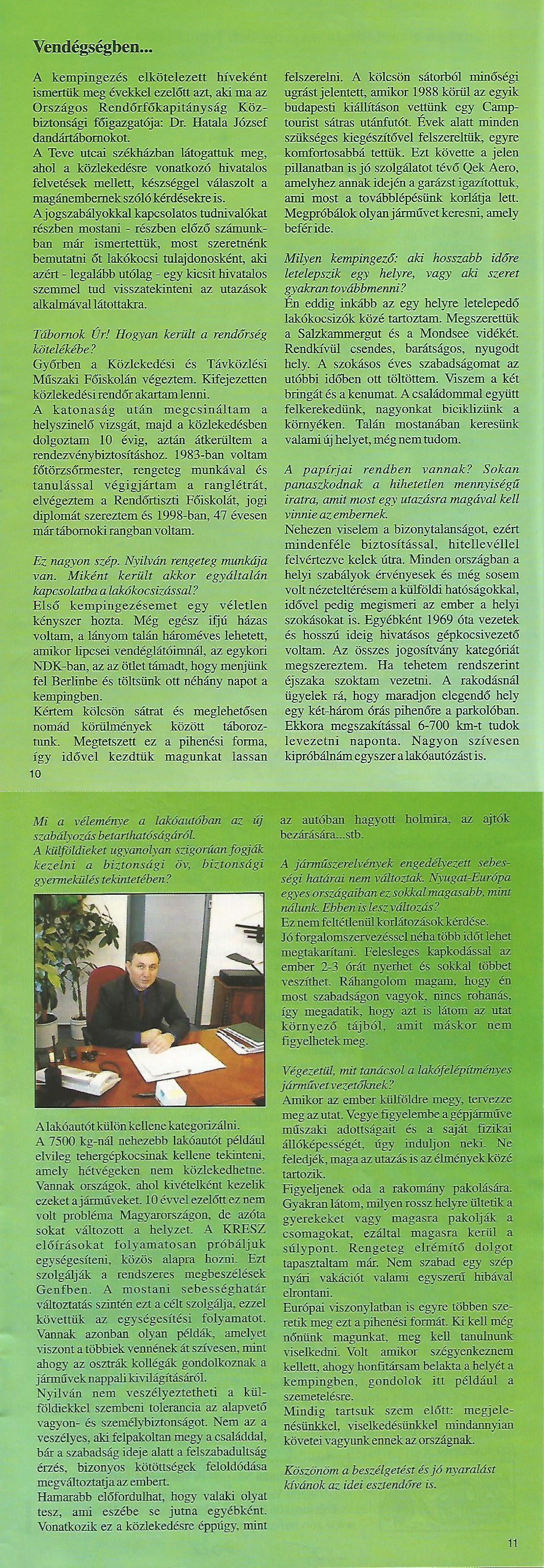 Karavándor magazin 2001. Nyár, Beszélgetés Dr. Hatala Józseffel