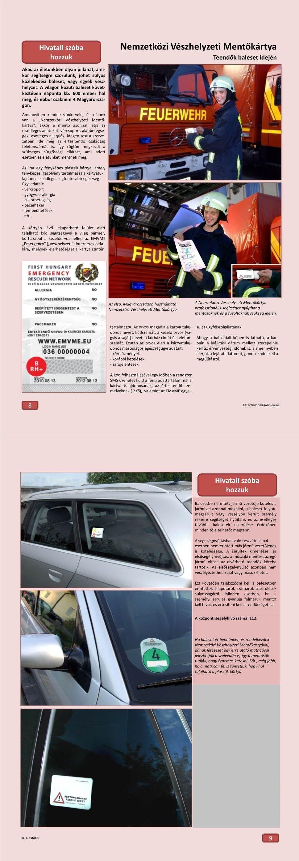 Hivatali szóba hozzuk - Nemzetközi Vészhelyzeti Mentőkártya