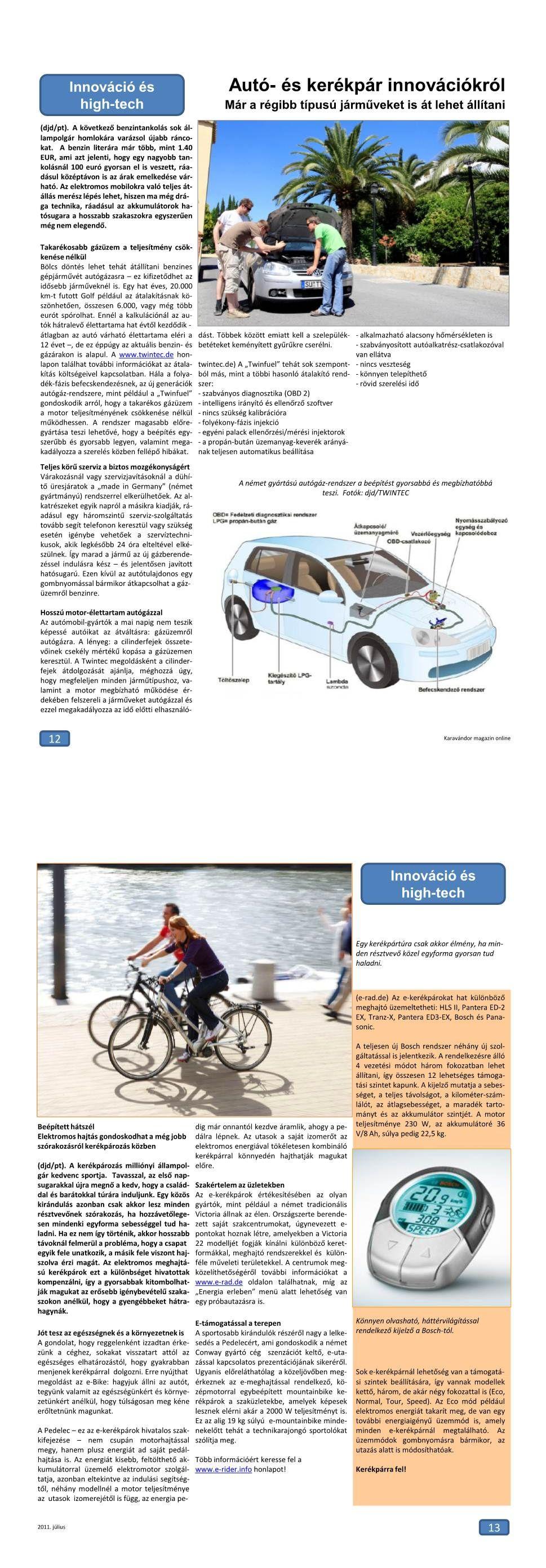 Innováció + High-Tech - Autó és kerékpár újdonságok