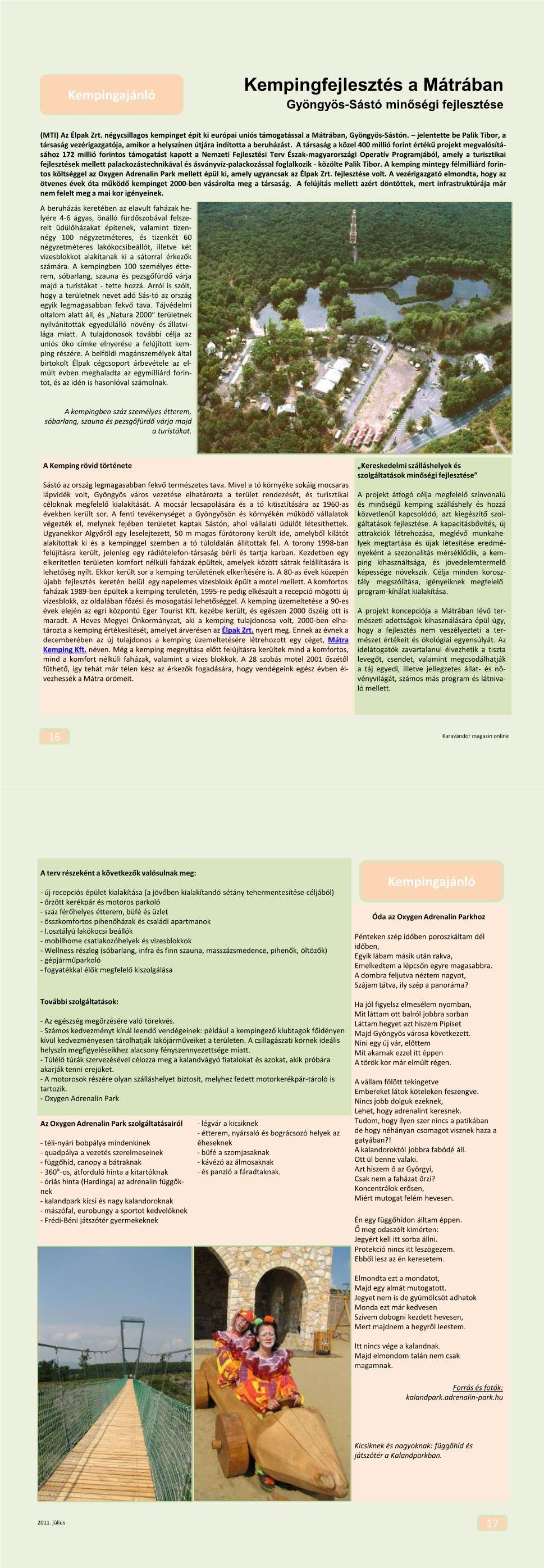 Kempingajánló - Gyöngyös-Sástó minőségfejlesztése