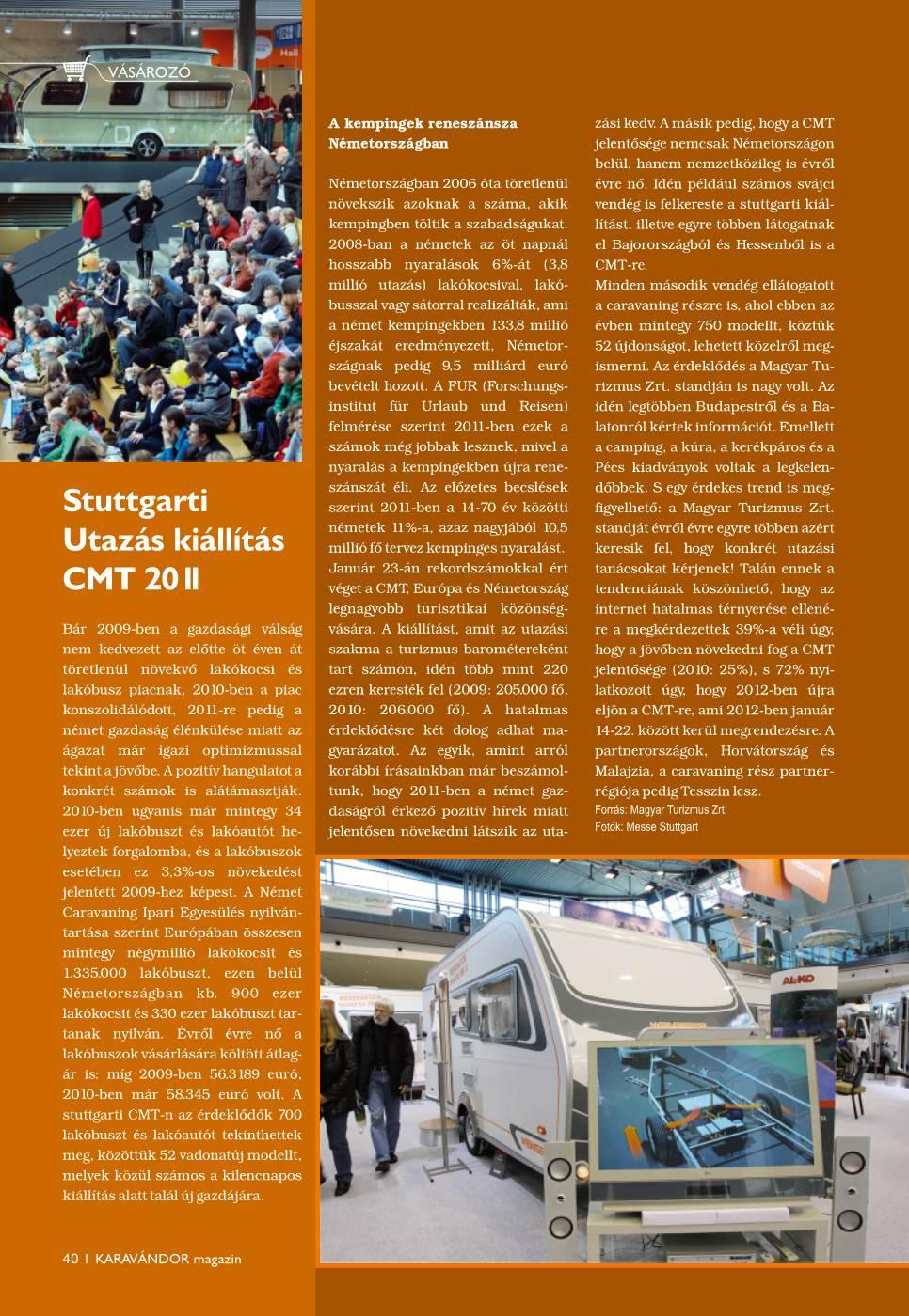 Vásározó - Stuttgarti Utazás kiállítás: CMT 2011
