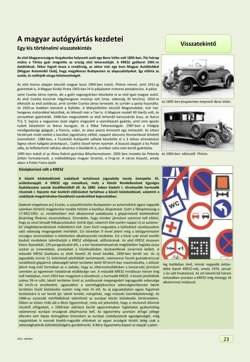 Visszatekintő - A magyar autógyártás kezdetei